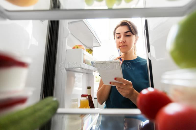 Woman making list of necessary food at home fridge stock photo