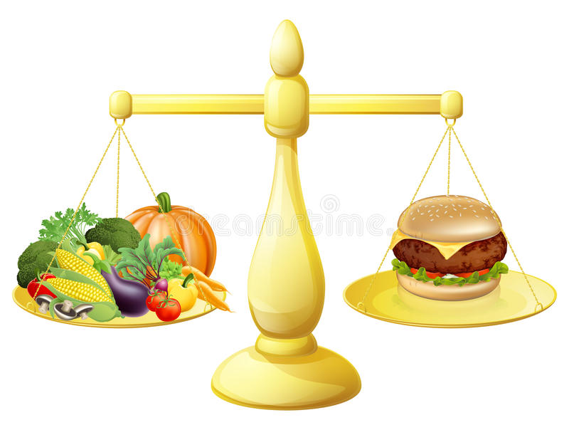 Healthy eating diet decision vector illustration
