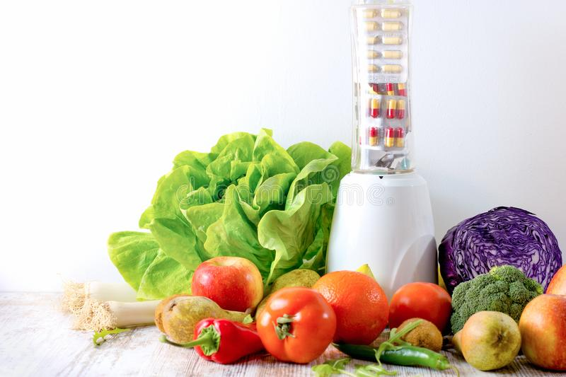 Healthy eating - diet, healthy food organic fruit and vegetable and nutrition supplement royalty free stock photos