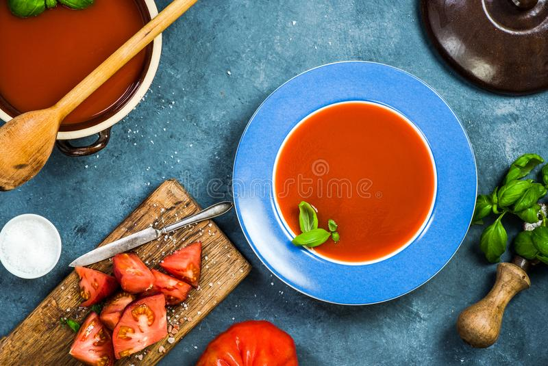 Healthy eating, fresh creamy gazpacho or tomato soup stock images
