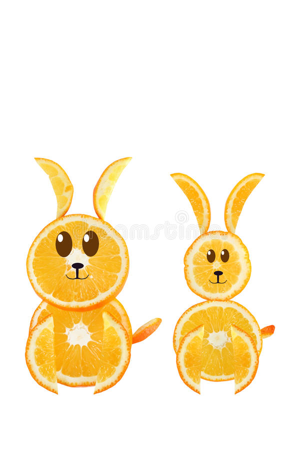 Healthy Eating. Funny Couple Of Rabbit Made Of The Orange Slices Stock Photography
