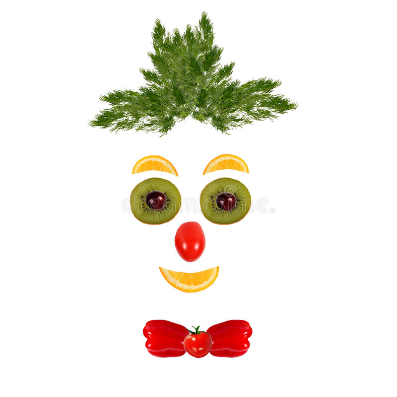 Healthy eating. Funny face made of vegetables and fruits.  royalty free stock photo