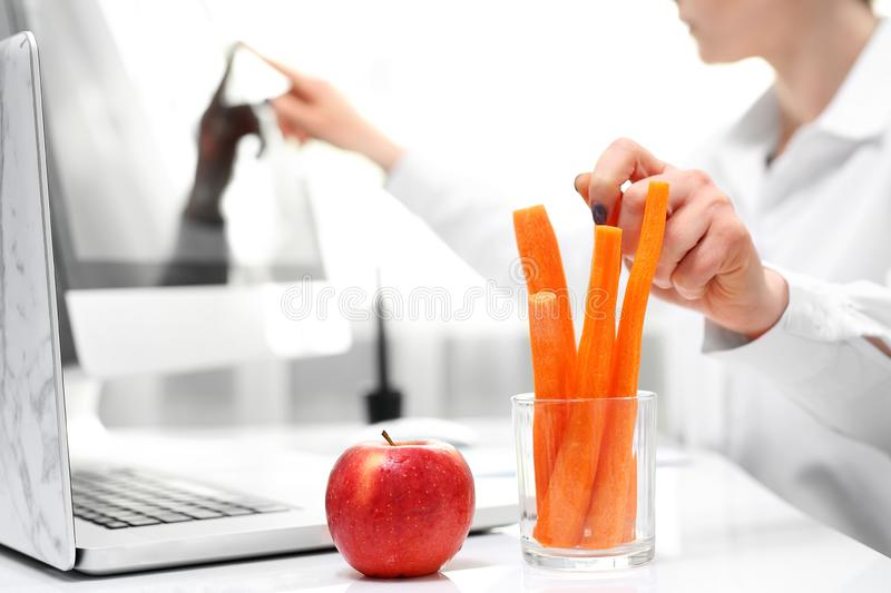 Healthy eating habits at work. Lunch in a corporation. stock photography