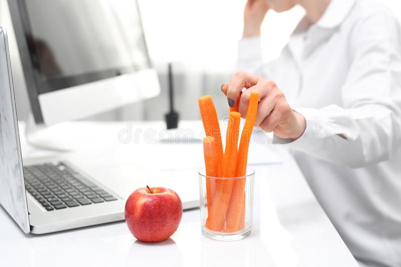 Healthy eating habits at work. Lunch in a corporation. royalty free stock photo