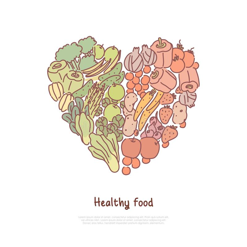 Healthy eating, lifestyle, fresh, raw tomatoes, cucumbers beetroots in heart shape, organic fruit and vegetables banner. Natural food, eco meal concept cartoon vector illustration