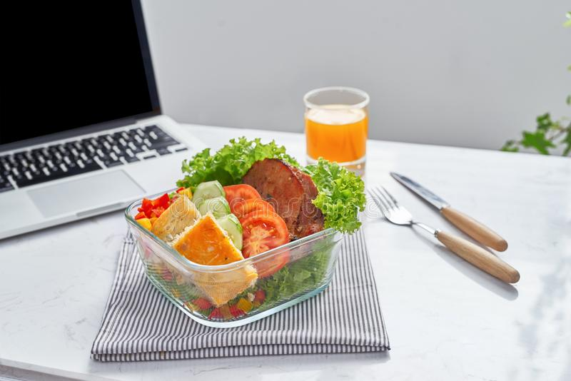 Healthy eating for lunch to work. Food in the office.  royalty free stock image