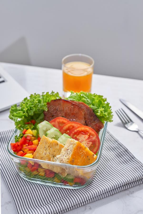Healthy eating for lunch to work. Food in the office royalty free stock photography