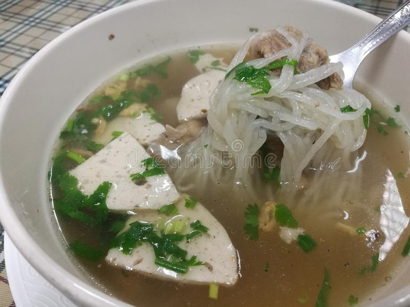 Healthy eating meal Pho noodle with boiled pork for light breakfast or lunch in restaurant, Vietnam noodle soup Recipe,focus on fo royalty free stock image