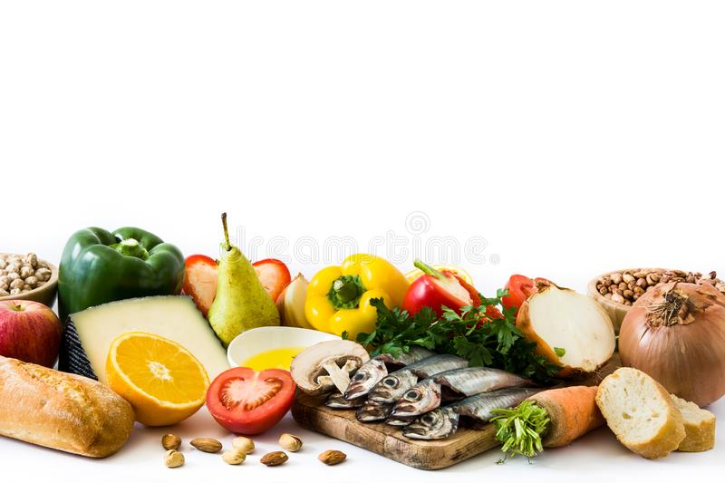 Healthy eating. Mediterranean diet. Fruit and vegetables isolated royalty free stock photography
