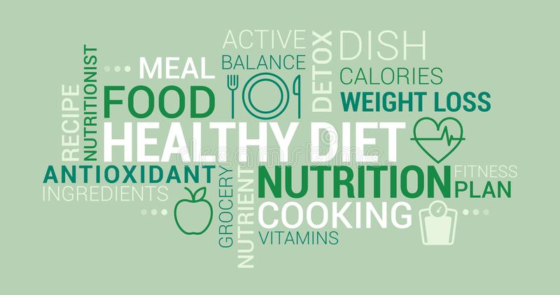 Healthy eating and diet tag cloud royalty free illustration