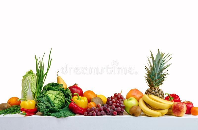 Healthy eating. Photo of different fruits and vegetables isolated white background. Copy spacy for your text. High resolution product stock photography
