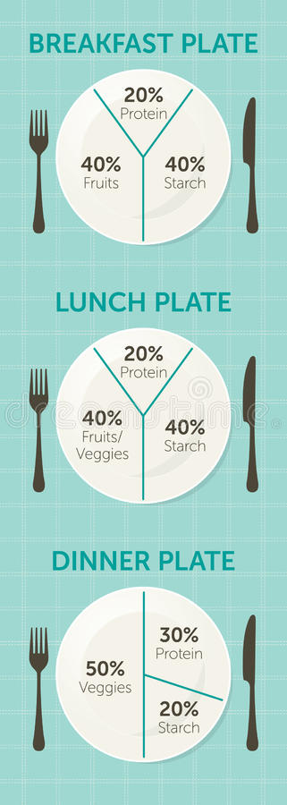 Healthy eating plate diagram. Breakfast, lunch and dinner vector illustration