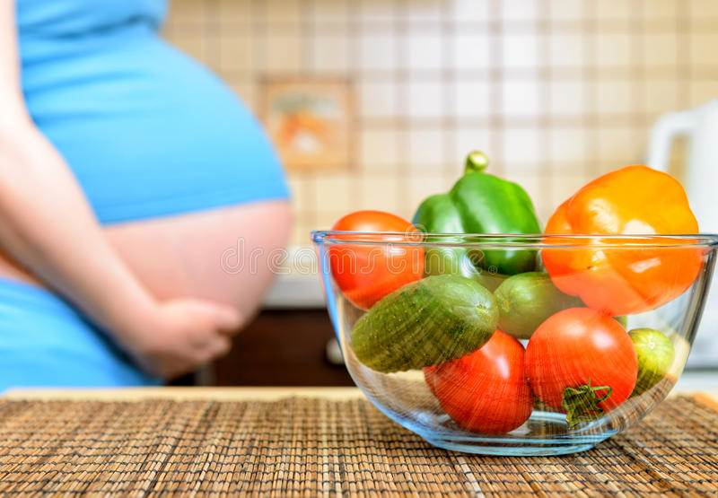 Healthy Eating For Pregnant Woman Stock Image - Image of indoors ...