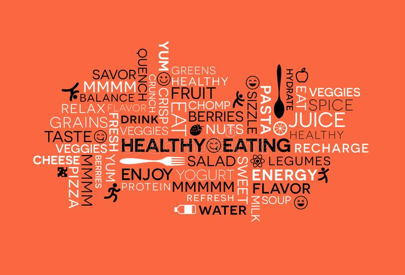 Healthy Eating themed word cloud with icons and emojis. stock illustration