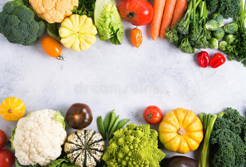 Top view of rainbow vegetables, autumn harvest stock image