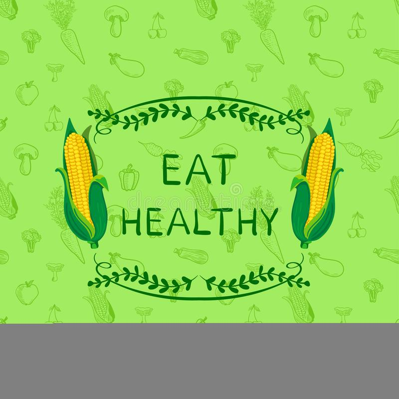 Healthy Eating VECTOR Motivational Poster Design Template, Doodle Hand Drawn Seamless Pattern with Vegetables and Frame royalty free illustration