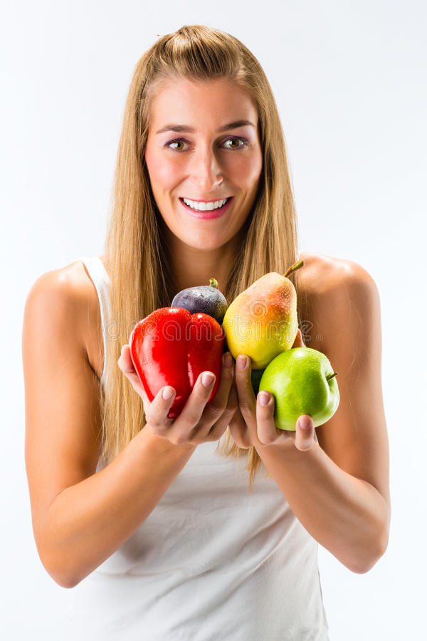 Healthy Eating, Woman With Fruits And Vegetables Royalty Free Stock Photos