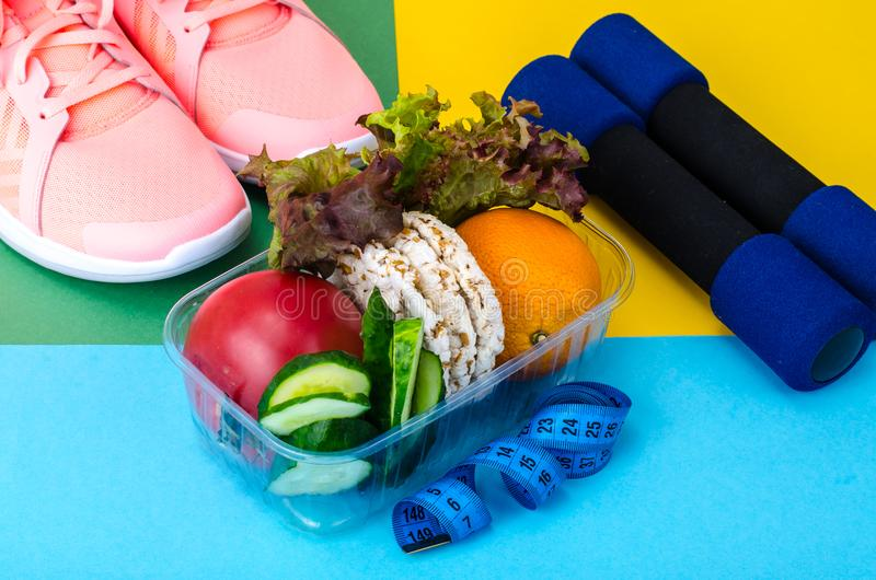 Healthy eating with workout and fitness dieting , weight loss concept stock photo