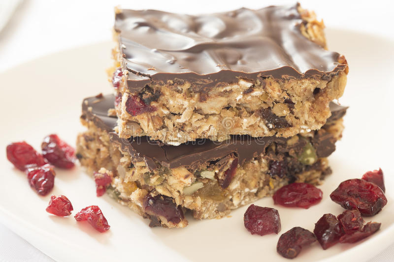 Healthy energy bars. Healthy homemade energy bars on the table stock photography