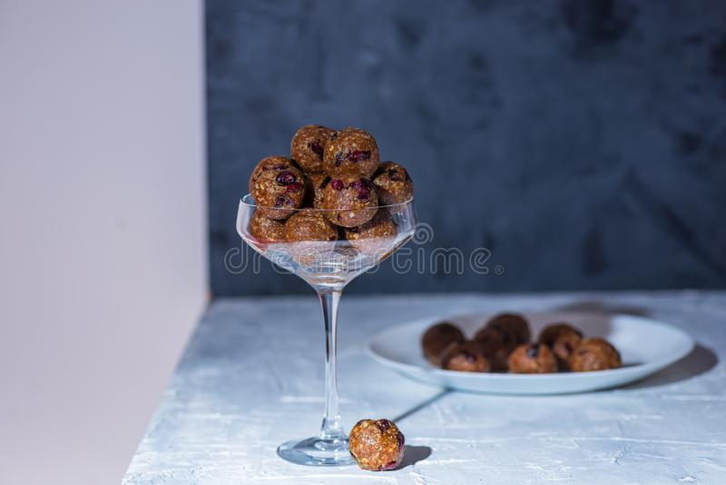 Healthy energy oatmeal balls or bites stock image