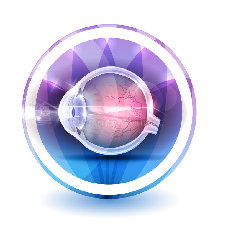 Healthy eye sign. Round shape colorful overlay flower petals at the background stock illustration