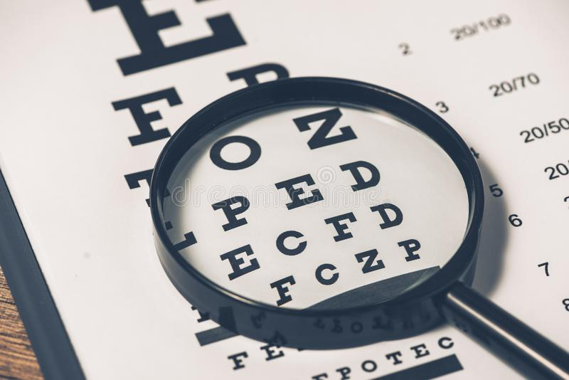 Healthy eyes. Eye chart and medicine royalty free stock images