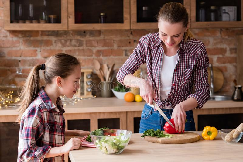 Healthy family eating lifestyle preparing salad royalty free stock images