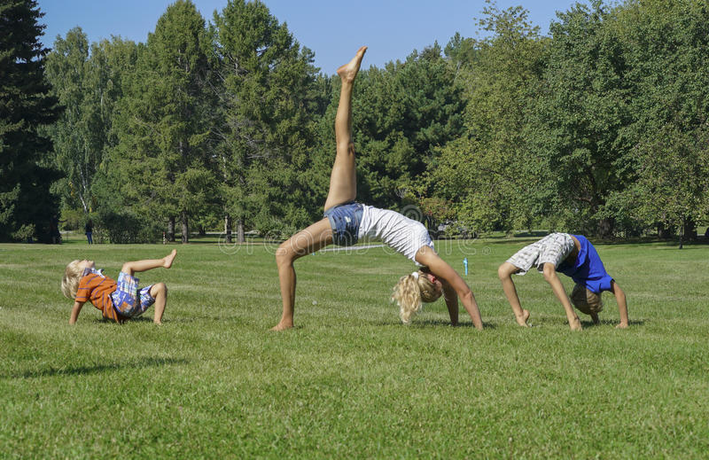 Healthy family practicing yoga in green park. stock photo
