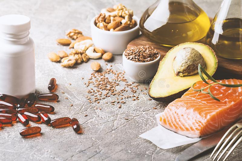 Healthy fats in nutrition royalty free stock photos