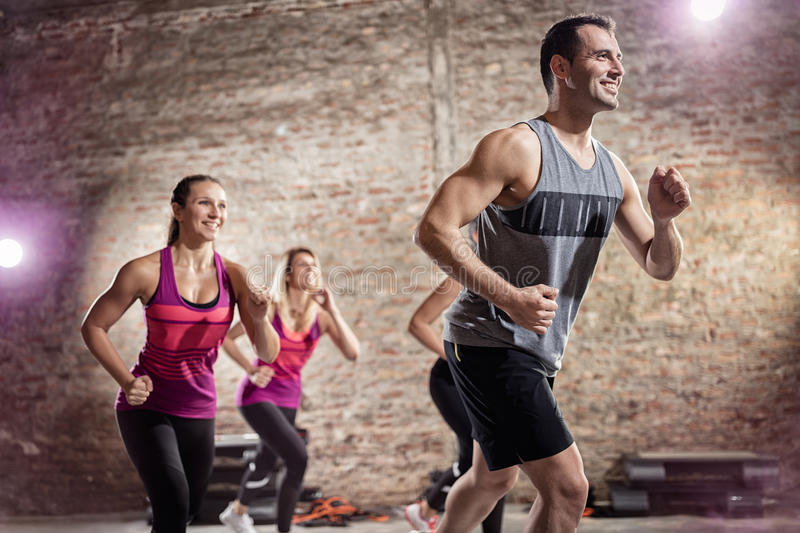 Healthy and fit people doing workout royalty free stock images