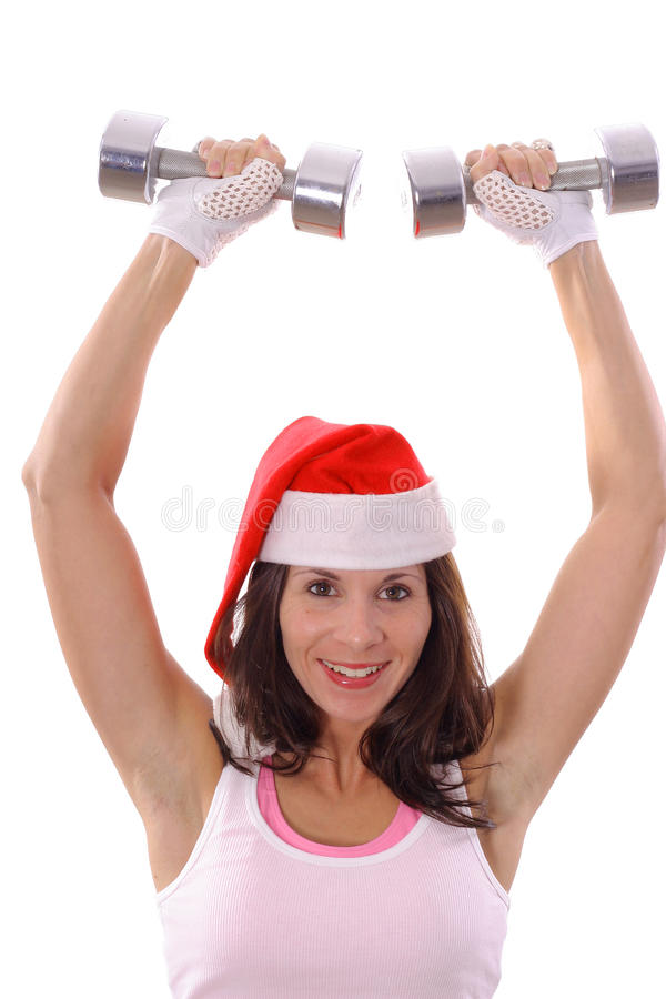 Healthy fitness Christmas press stock photo