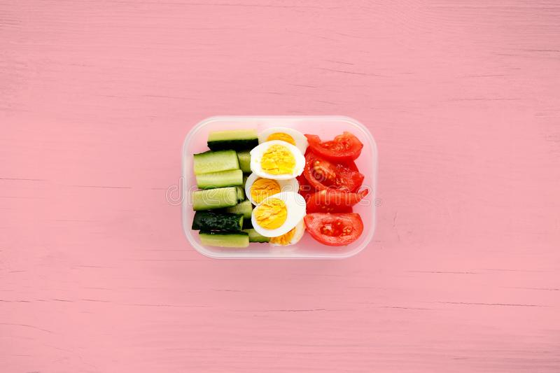 Healthy fitness food in container. Sport food minimalism royalty free stock images