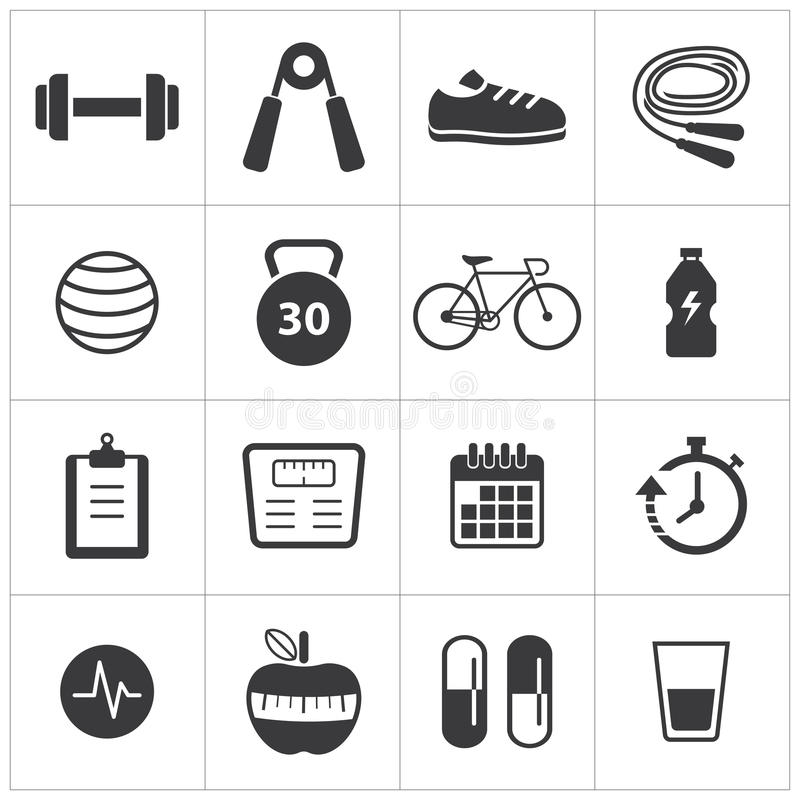 Healthy and fitness icon. Vector healthy and fitness icon stock illustration