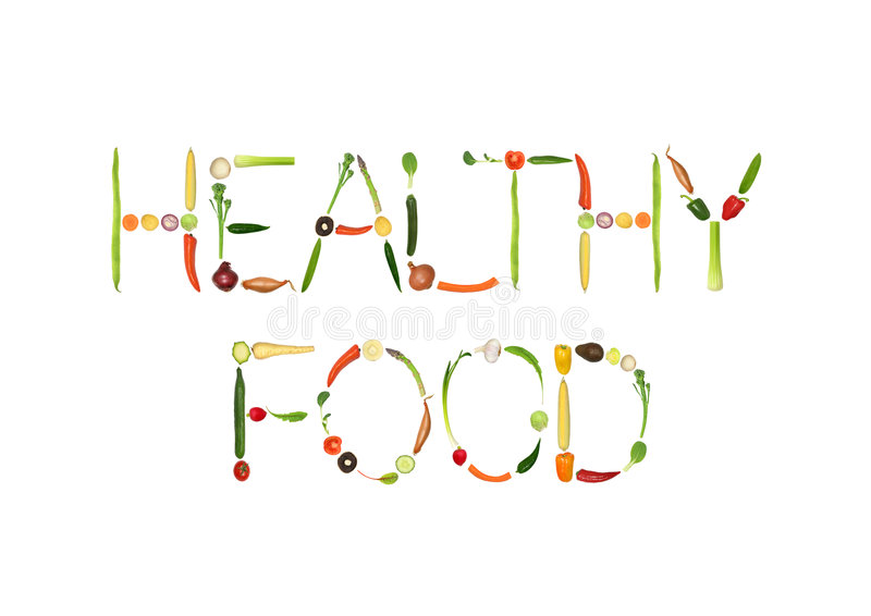 Healthy Food. Vegetable selection spelling the words healthy food, over white background royalty free illustration