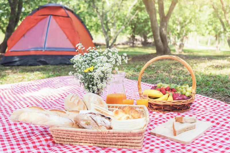 Healthy food and accessories outdoor summer or spring picnic, Pi royalty free stock photos