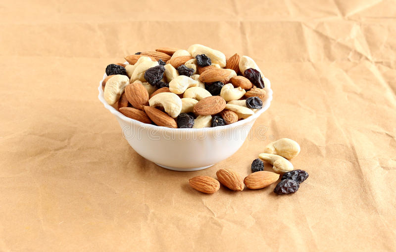 Healthy Food Almonds, Cashew Nuts and Raisins royalty free stock image