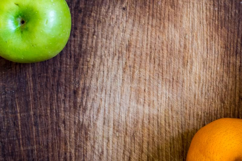 Healthy food. Apple and orange stock photography