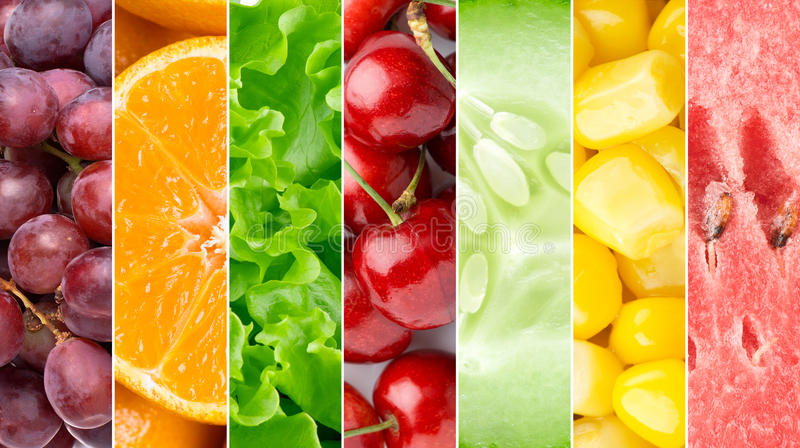 Healthy food backgroun. D. Collection with different fruits, berries and vegetables stock image