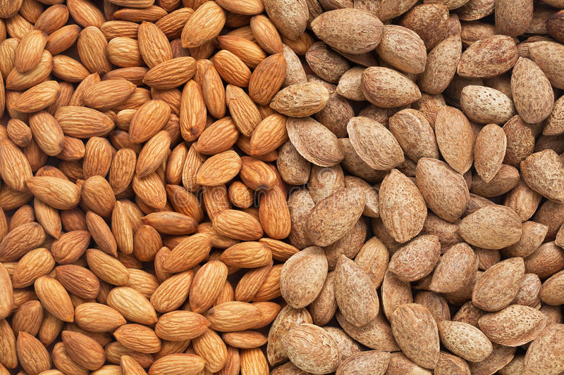 Healthy food, background. Almonds