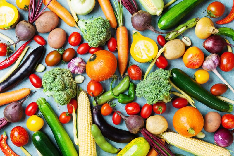 Healthy food background. Autumn vegetables and crop top view. Healthy food background. Autumn vegetables and crop from above royalty free stock photo