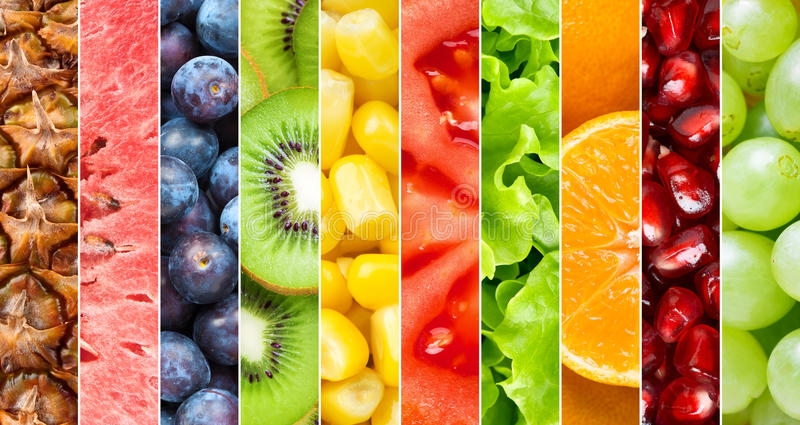 Healthy food background. Collection with different fruits, berries and vegetables stock image