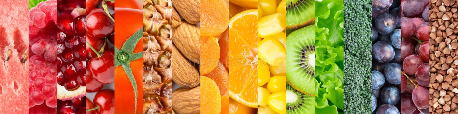 Healthy food background. Collection with different fruits, vegetables and healthy eating royalty free stock images