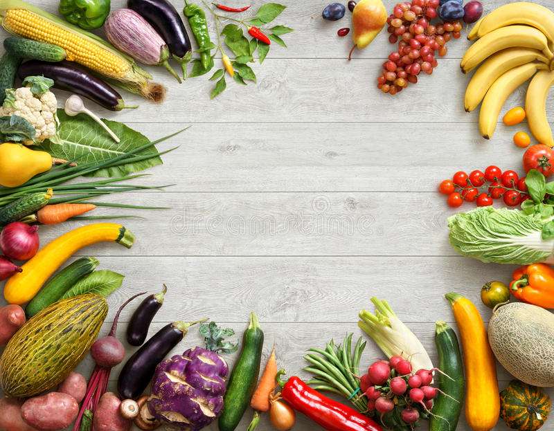 Healthy food background and Copy space. Studio photo of different fruits and vegetables royalty free stock photography