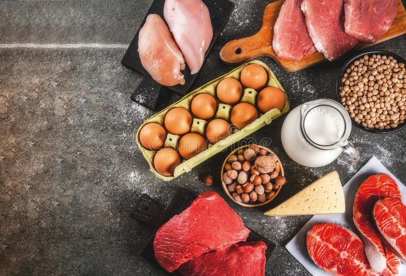Selection of protein sources food royalty free stock image