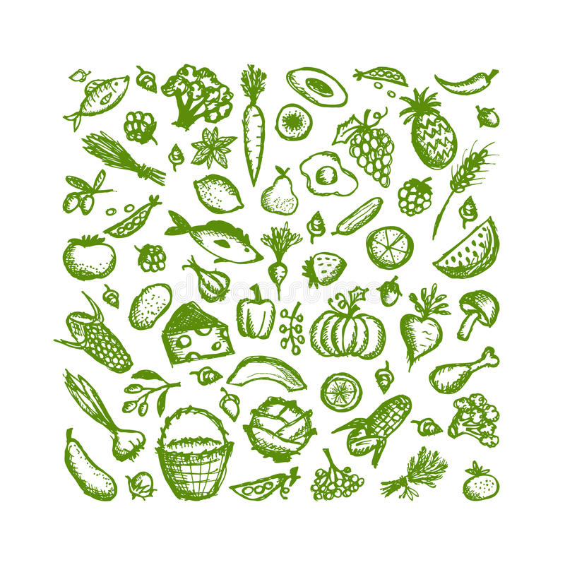 Healthy food background, sketch for your design stock illustration