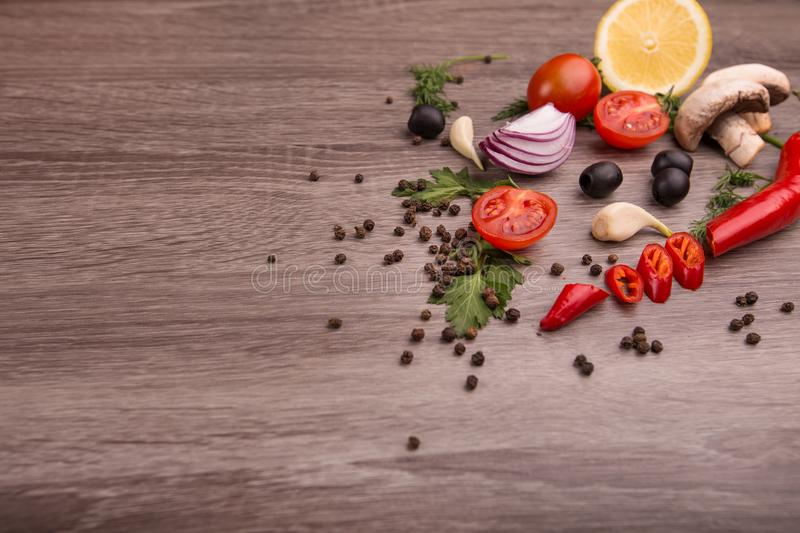 Download Healthy Food Background / Studio Photo Of Different Fruits And Vegetables On Wooden Table. Stock Image - Image of green, detoxification: 111127151