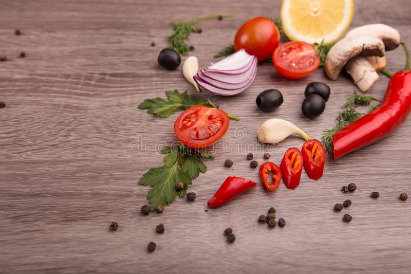 Download Healthy Food Background / Studio Photo Of Different Fruits And Vegetables On Wooden Table. Stock Image - Image of ingredients, resolution: 111127153
