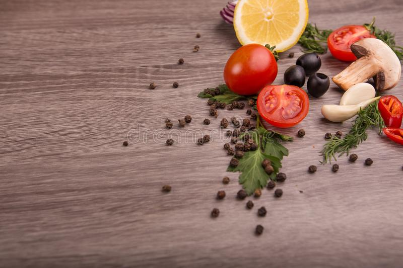 Download Healthy Food Background / Studio Photo Of Different Fruits And Vegetables On Wooden Table. Stock Image - Image of foodstuff, board: 111127157