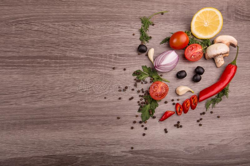 Download Healthy Food Background / Studio Photo Of Different Fruits And Vegetables On Wooden Table. Stock Photo - Image of detoxification, foodstuff: 111127164