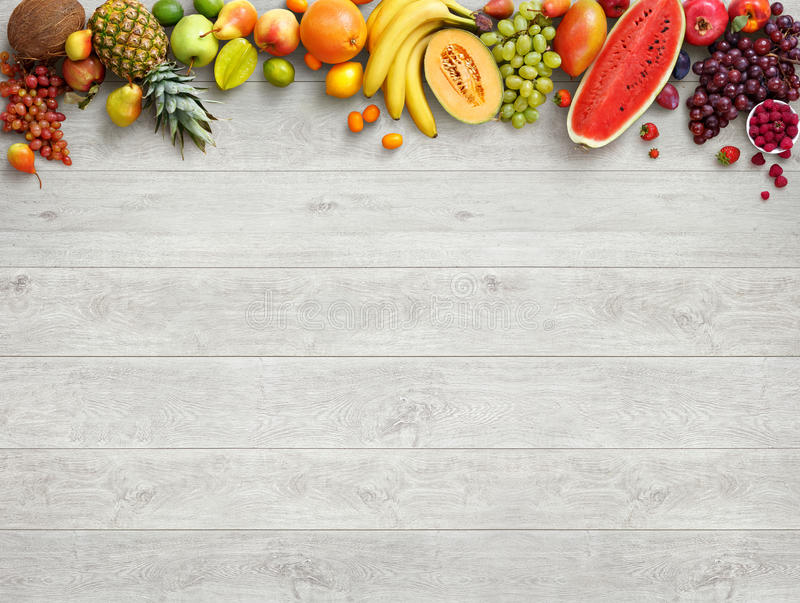 Healthy food background. Studio photo of different fruits stock photo